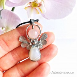 Náhrdelník anděl Měsíční kámen Mateřství