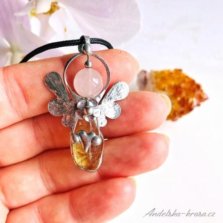 Náhrdelník Anděl Citrín Hojnost