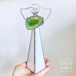 Anděl Klidu a Míru - achát svícen 20 cm