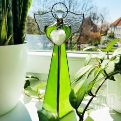 Anděl Ochrana Domova s křišťálem svícen 24 cm