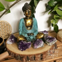 Buddha MOUDROST tyrkysovo-zlatý