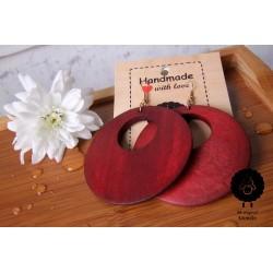 Dřevěné náušnice - červené