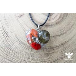 Srdíčko čínská mince červený jaspis korál