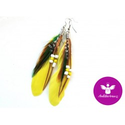 Peříčkové náušnice - žluté 2