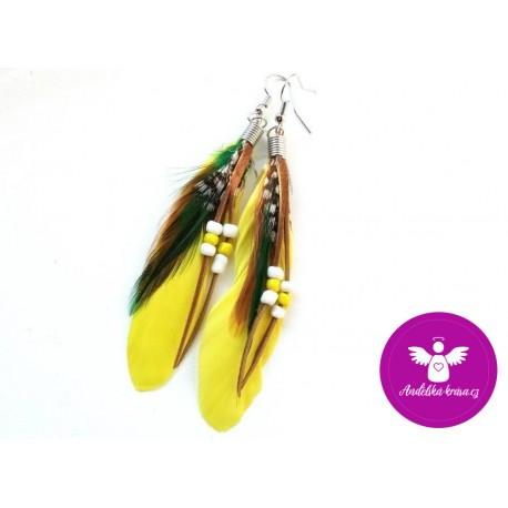 Peříčkové náušnice - žluté