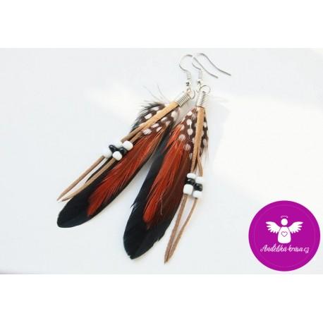 Peříčkové náušnice - tyrkysové