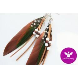 Peříčkové náušnice - hnědé