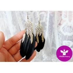 Peříčkové náušnice - černé 2