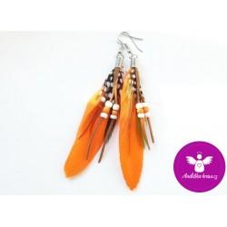 Peříčkové náušnice - oranžová
