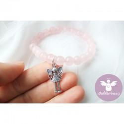 Náramek - růženín s andělkou