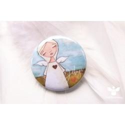 Button - brož Děkuji s andílkem