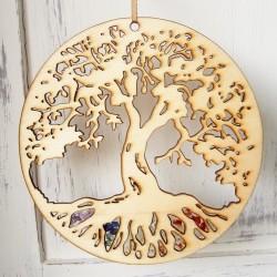 Strom života čakrový s minerály dřevěný
