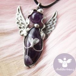 Náhrdelník Anděl Ametyst Spojím Tě s Tvým JÁ