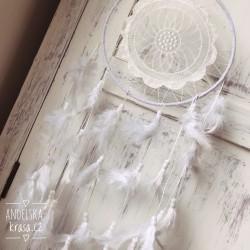 Lapač snů s krajkou - bílý VELKÝ