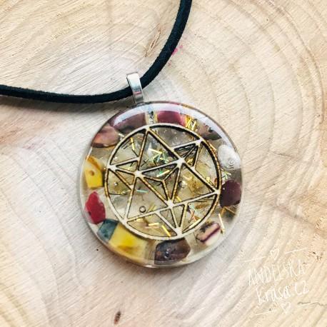 Orgonitový náhrdelník Merkaba Stres