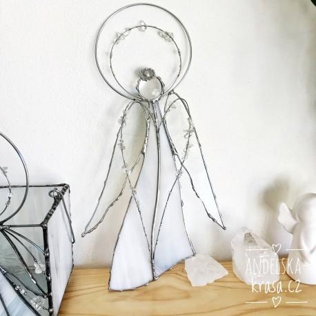Anděl vitráž křišťál Vyléčím Tvou duši 28 cm