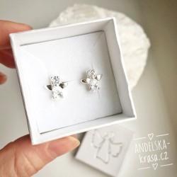 Andílci náušnice s krystaly stříbro