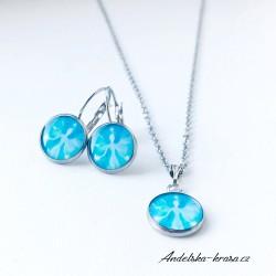 Náušnice ocelové modrý Anděl