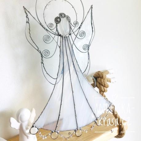 Anděl vitráž křišťál Vyléčím Tvou duši 37cm