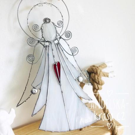 Anděl vitráž křišťál Harmonické vztahy 35cm