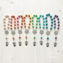 Růženec s perličkami a andílkem